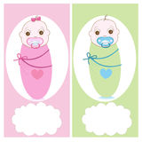 Swaddle baby with baby soother, boy, girl vector greeting card Stock Photo