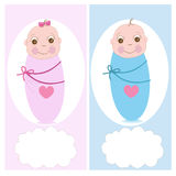 Swaddle baby, boy, girl vector greeting. Card Royalty Free Stock Photo