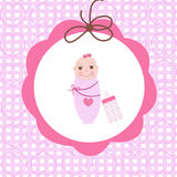 Swaddle baby girl greeting card with bottle Royalty Free Stock Images
