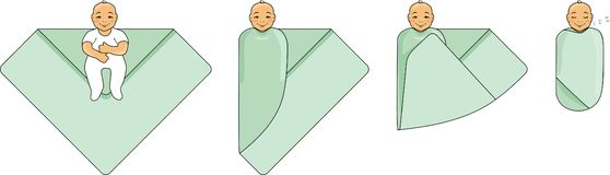 Swaddle a baby. Instructions for use stock image