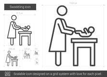 Swaddling line icon. Swaddling vector line icon isolated on white background. Swaddling line icon for infographic, website or app. Scalable icon designed on a Royalty Free Stock Image
