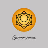 Swadhisthana.Sacral Chakra. The symbol of the second human chakra. Vector illustration. Element human energy system. Yoga,meditation,reiki and buddhism color royalty free illustration