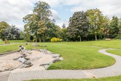 Swadlincote Park Derbyshire  water and stone feature. Stock Image
