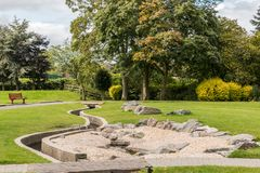 Swadlincote Park Derbyshire  water and stone feature. Royalty Free Stock Image