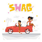 Swag boy and sexy girl vector illustration Royalty Free Stock Image