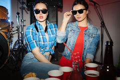 Swag Girls Posing in Night Club Royalty Free Stock Photos