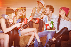 Swag party. Happy young people laughing at swag party in bar Royalty Free Stock Photo