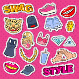 Swag Style Teenage Fashion Doodle with Lips, Hands and Accessories for Stickers, Patches and Badges Stock Photography