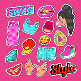 Swag Style Teenage Fashion Stickers, Badges and Patches with Girl, Hands and Clothes. Vector illustration Royalty Free Stock Photography