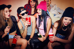 Swag teens. Spending time in bar Royalty Free Stock Images
