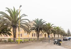 Namib High School in Swakopmund. SWAKOPMUND, NAMIBIA - JUNE 30, 2017: The Namib High School in Swakopmund, in the Namib Desert on the Atlantic Coast of Namibia Royalty Free Stock Image