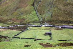 Swaledale. Looking down on swaledale yorkshire england with fields and river Royalty Free Stock Image