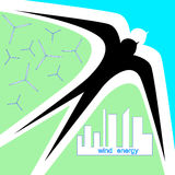 Swallow as a symbol of wind energytown. Abstract illustration of an ecological energia Royalty Free Stock Photography