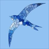 Swallow bird blue color mosaic Stock Image