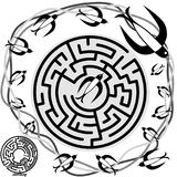 Maze Game Birds Activity for Kids. The swallow birds want to find the way through the circular maze to find the lost bird. Can you help them find the way Royalty Free Stock Photography