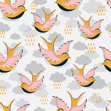 Swallow with clouds pattern royalty free illustration