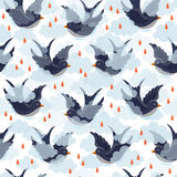 Swallow and clouds pattern Royalty Free Stock Image