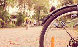 Swallow depth of field bicycle wheel Royalty Free Stock Image