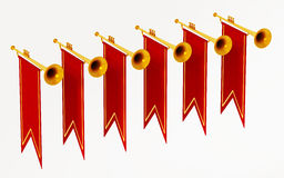 Swallow flags and trumpets isolated on white background. 3D illustration Stock Photo