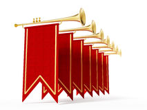 Swallow flags and trumpets isolated on white background. 3D illustration Royalty Free Stock Photography