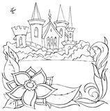 "Swallow flies over a castle. Black-and-white outline (for a coloring book) of a swallow flying over a castle in Fairyland (illustration of the fairy-tale "" vector illustration"