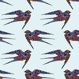 Swallow. Hand drawing. Vector seamless pattern on a blue background for design and decoration Stock Images