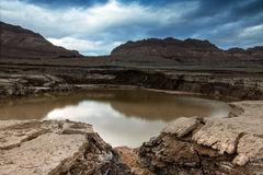 Swallow-Hole at Dead Sea. A Swallow hole at dead sea shore Royalty Free Stock Images