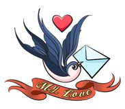 Swallow with love Letter Tattoo. Swallow with love Letter in a beak and ribbon with wording My Love drawn in Tattoo style. Vector illustration stock illustration