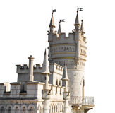 Swallow Nest castle in Crimea isolated on white. Swallow Nest castle on Southern Coast of Crimea isolated on white background royalty free stock photography