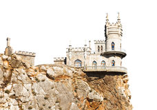 Swallow Nest palace on cliff in Crimea isolated Stock Images