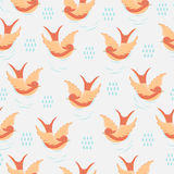 Swallow with rain drops pattern. Vector seamless pattern with swallow, clouds and rain drops. Surface pattern design with swallow made in flat style. Seamless Stock Image