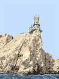 Swallow's Nest. Swallow's Nest is a decorative castle near Yalta on the Crimean peninsula in southern Ukraine Vector Illustration