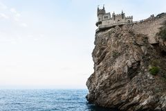Swallow's Nest Castle on Ai-Todor cape in Crimea. Travel to Crimea - view of Swallow's Nest Castle on Aurora Cliff of Ai-Todor cape on Crimean South Coast of royalty free stock image