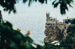 The swallow`s nest castle in autumn. The castle Swallow`s Nest on the rock in the Black Sea in Crimea, Russia Stock Photography