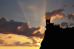 Swallow's Nest castle on the background of  a beautiful sunset. Stock Image