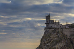 Swallow's Nest castle on the background of a stormy sky. Stock Image