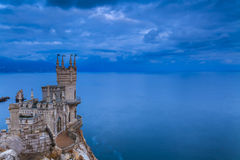 Swallow's Nest castle on the background of a stormy sky. Royalty Free Stock Photo