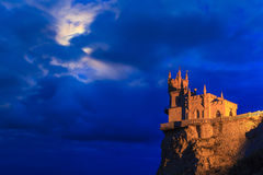 Swallow's Nest castle on the background of a stormy sky. Royalty Free Stock Photography
