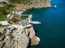 Swallow`s Nest castle in Crimea. Aerial view of Swallow`s Nest castle on the rock in the Black Sea, Russia. This castle is a symbol of Crimea stock photo