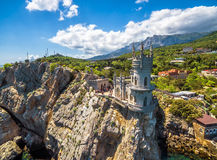 Swallow's Nest castle on the rock, Crimea. The famous castle Swallow's Nest on the rock in the Black Sea, Russia. This castle is a symbol of Crimea stock photo