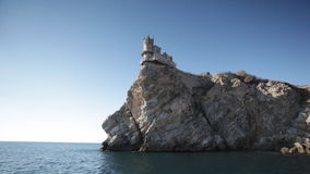 Swallow's Nest castle on the rock over Black sea stock footage