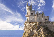 Swallow's Nest castle on the rock over the Black Sea early in the morning. Royalty Free Stock Photography