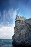 Swallow's Nest castle on the rock over the Black Sea. Gaspra. Crimea. Swallow's Nest castle on the rock over the Black Sea stock images