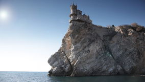 Swallow's Nest castle on the rock over the sea stock footage