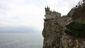 Swallow's Nest castle on the rock over the sea, Crimea stock video