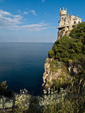 Swallow's Nest Castle Surrounding Sideview. Swallow's Nest Castle Surrounding Side-view Grass Evening Stock Photo