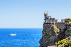 The swallow's nest castle, the symbol of the Crimea Peninsula, Black sea. Summer 2016 stock photography