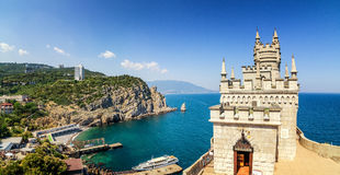 The swallow's nest castle, the symbol of the Crimea Peninsula, Black sea. Summer 2016 stock photo