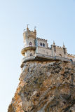 Swallow's Nest castle on top Aurora rock, Crimea Royalty Free Stock Image