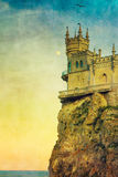 Swallow's Nest castle. The well-known Crimean castle Swallow's Nest with moon and bird, with vintage postcard style stock images